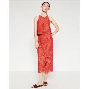 Zara lace pencil midi skirt
